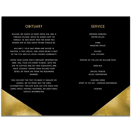 Inside of the Modern Minimal 4 Page Funeral Program Template