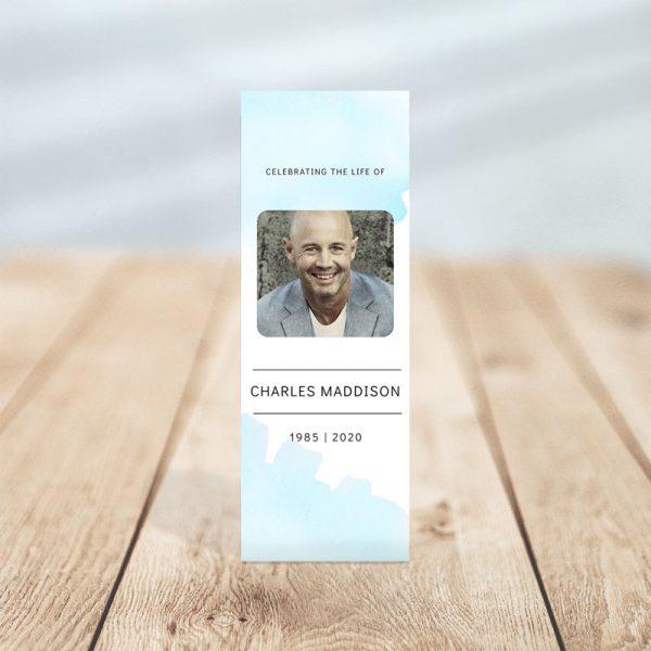 Skye Funeral Memorial Bookmark Template