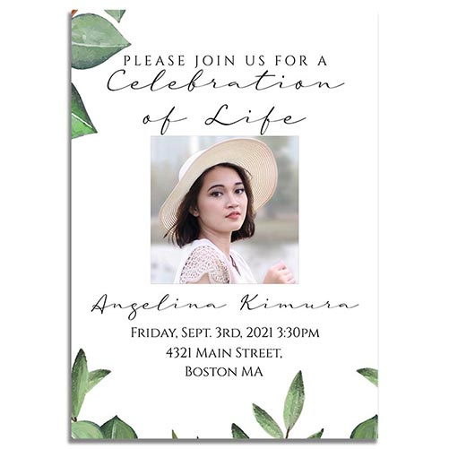 Funeral Invites Product Template - Timeless Green