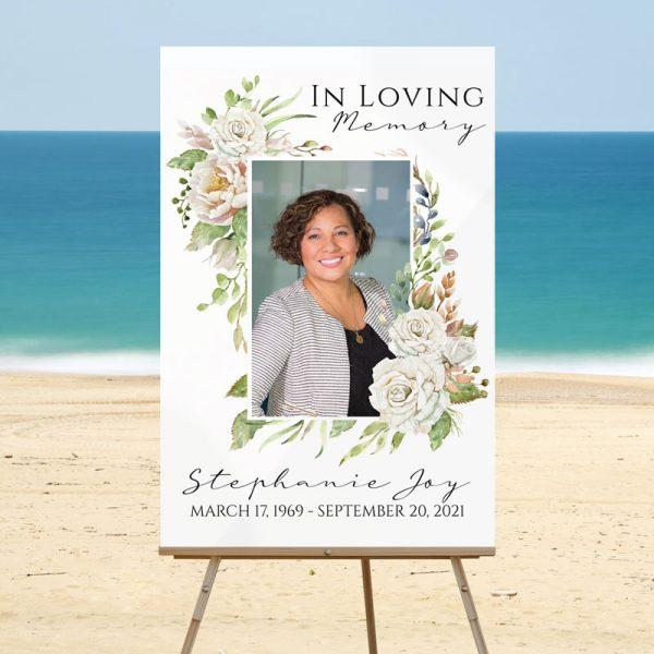 Funeral Welcome Sign: Vintage Floral Frame