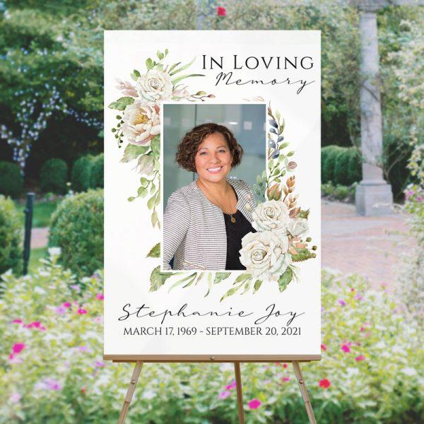 Vintage Floral Frame Funeral Welcome Sign Template