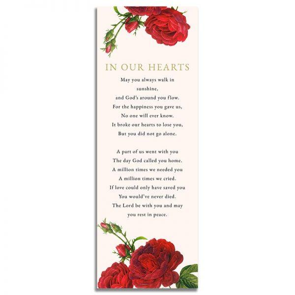 Vintage Rose Funeral Bookmark - Back