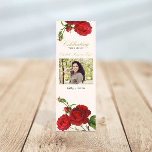 Vintage Rose Funeral Bookmark