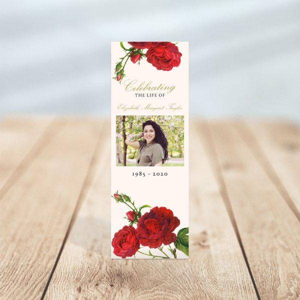 Vintage Rose Funeral Bookmark