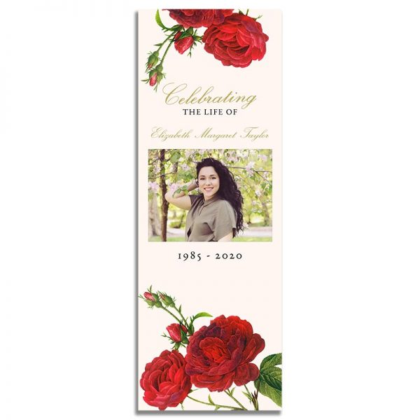 Vintage Rose Funeral Bookmarks - Front