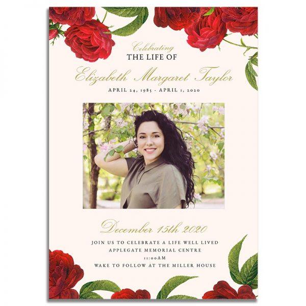 Vintage Rose Funeral Invitation Template