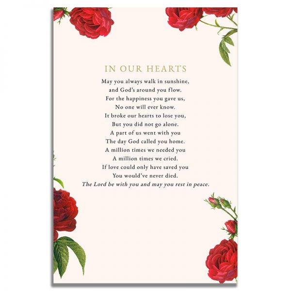 Back Page of the Vintage Rose Prayer Card Template