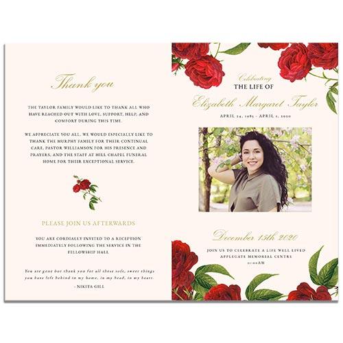 Front & Back - 4 Paged Vintage Rose Funeral Program