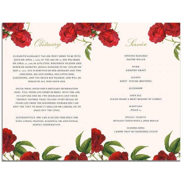Inside - 4 Page Vintage Rose Funeral Program