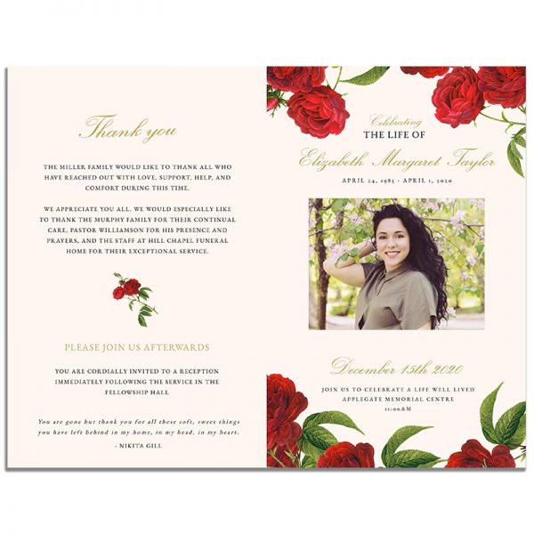Front and Back of the 8 Page Vintage Rose Funeral Program Template