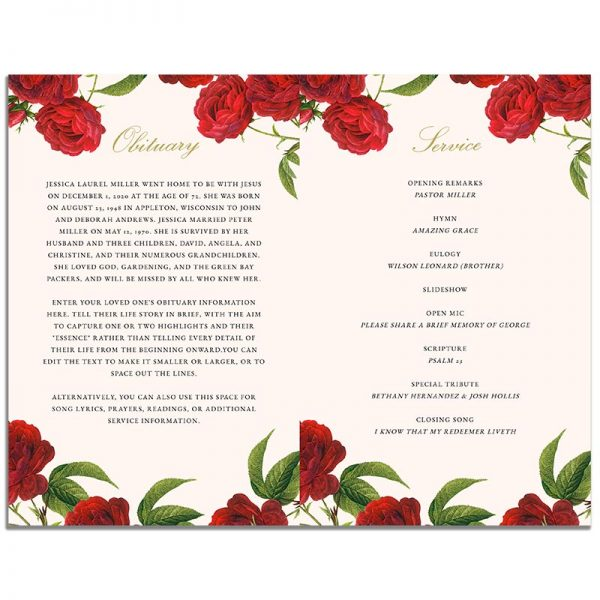 Page 1 of the Vintage Rose 8 Page Funeral Program Template