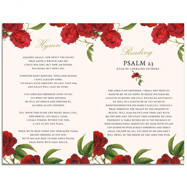 Page 2 of the Vintage Rose 8 Page Funeral Program Template