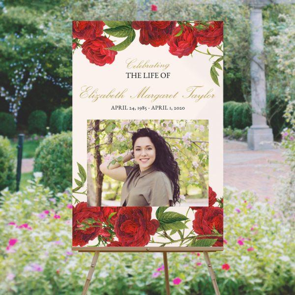 Vintage Rose Funeral Welcome Sign