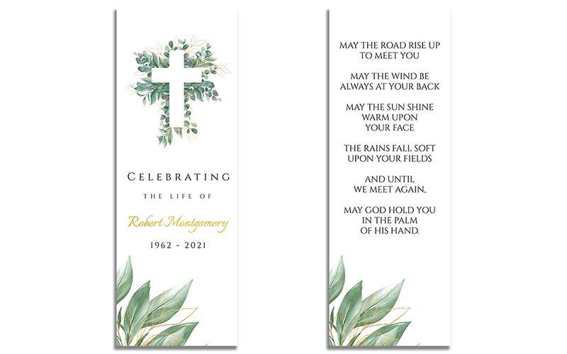 Funeral Bookmark Template: Cross Leaves
