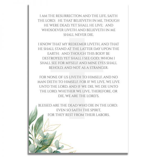 Back of Prayer Card Template: Cross Leaves