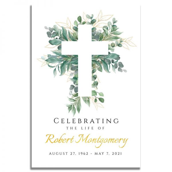 Front Side of Funeral Prayer Card Template: Cross Leaves