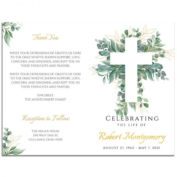 Front and Back Sides of Funeral Program Template: Cross Leaves