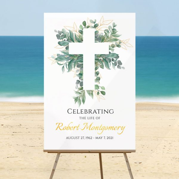 Funeral Welcome Sign Template: Cross and Leaves
