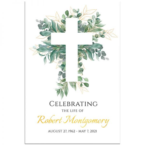 Funeral Welcome Sign Template: Cross Leaves