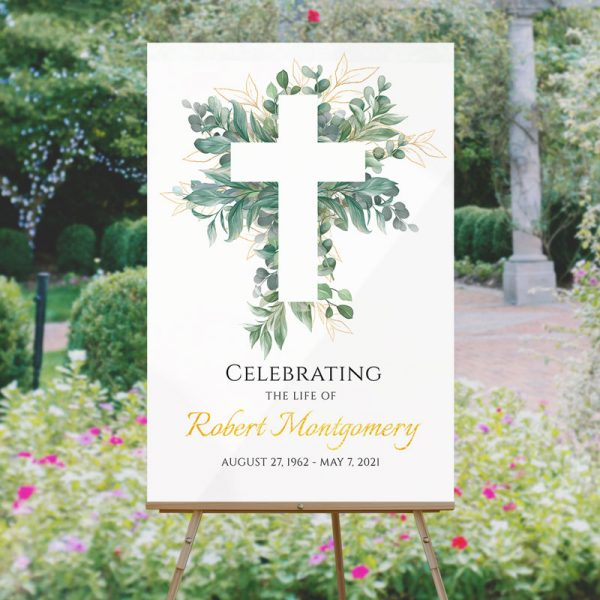 Cross and Leaves Funeral Welcome Signs
