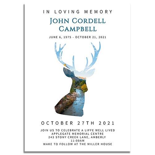 Funeral Invitation Template: Deer Creek