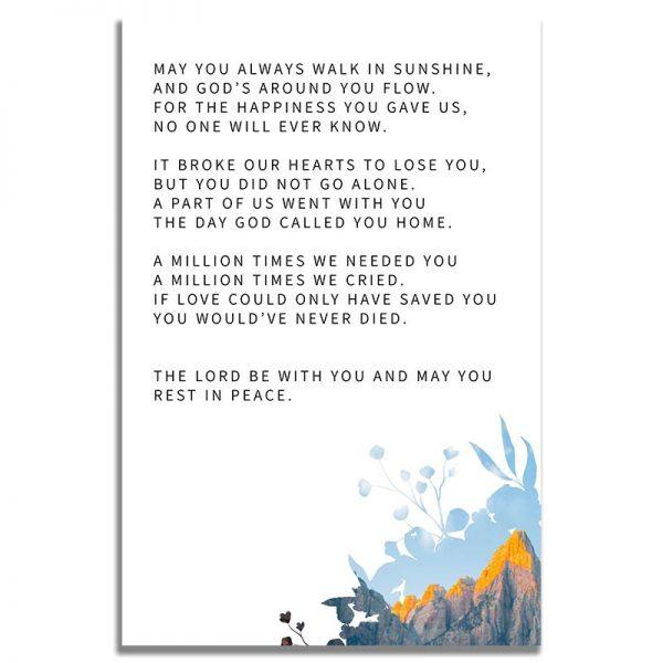 Back Side of Funeral Prayer Card Template: Deer Creek