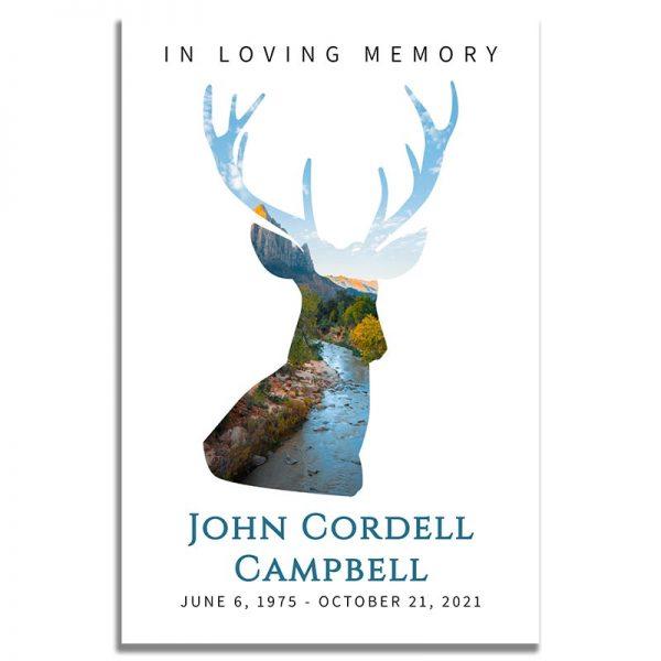 Front Side of Funeral Prayer Card Template: Deer Creek