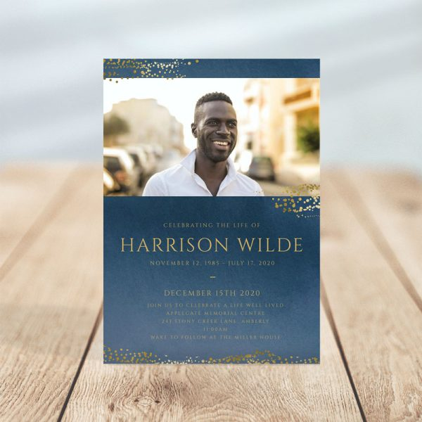 Funeral Invitation Template: Navy Gold