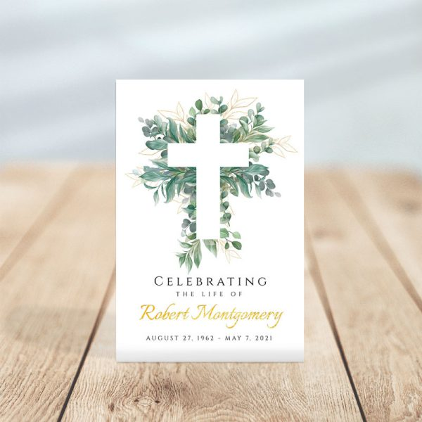 Personalized Cross and Leaves Funeral Prayer Card