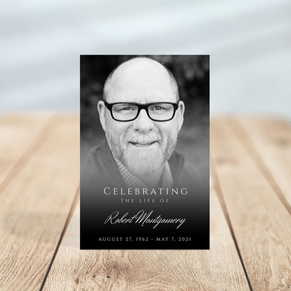 Black and White Photo Portrait Funeral Prayer Card Template