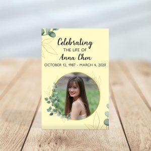Soft Light Funeral Prayer Card Template