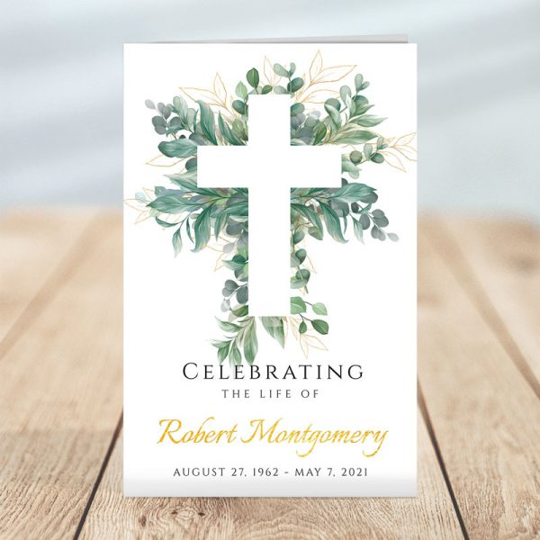 Cross and Leaves Funeral Program Template