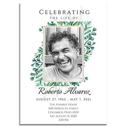 Personalized Gold Framed Photo Funeral Invitation Template