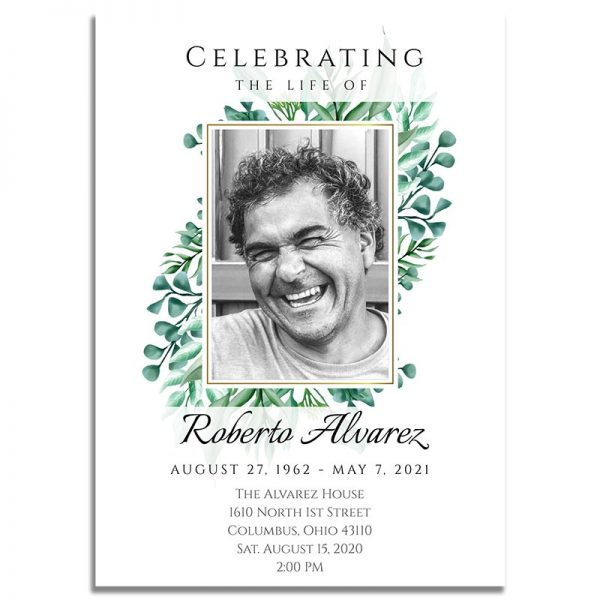 Funeral Invitation Template: Gold Framed Photo