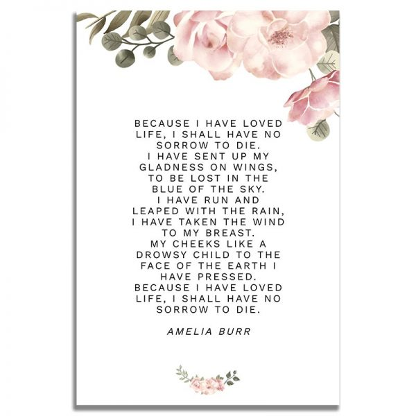 Back side of Funeral Prayer Card Template: Green Serenity