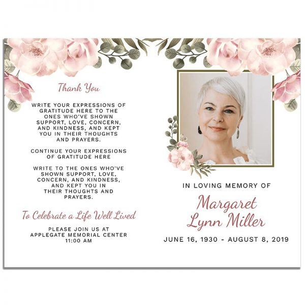 Front and Back Sides of 8 Page Funeral Program Template: Green Serenity