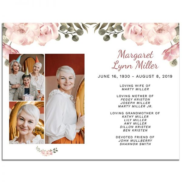 Page Three of 8 Page Funeral Program Template: Green Serenity