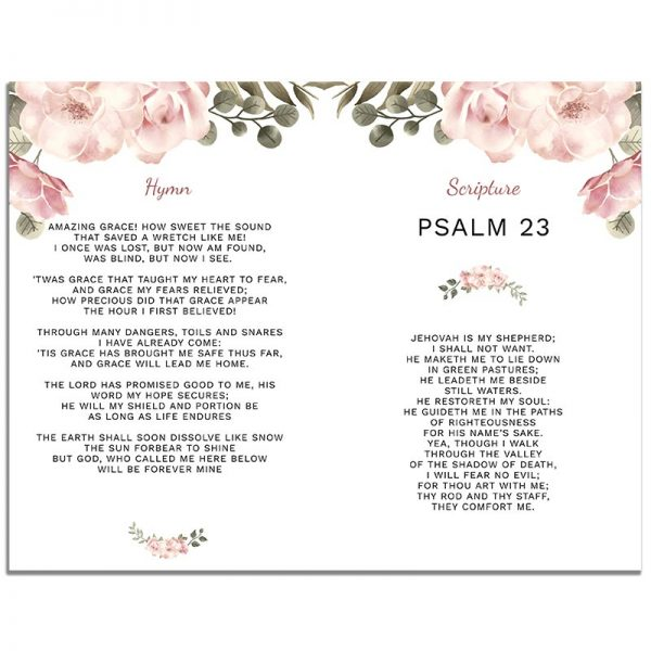 Page Two of 8 Page Funeral Program Template: Green Serenity