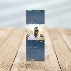 Personalized Memorial Bookmark Templates: Navy Gold