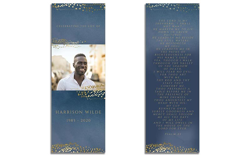 Funeral Bookmark Template: Navy Gold