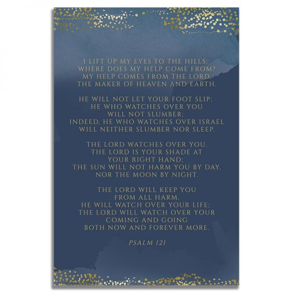 Back Side of Funeral Prayer Card Template: Navy Gold