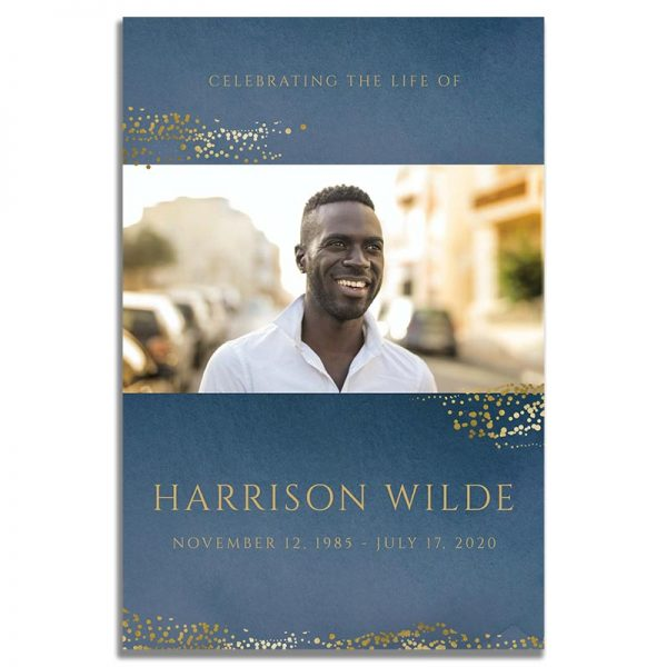 Front Side of Funeral Prayer Card Template: Navy Gold