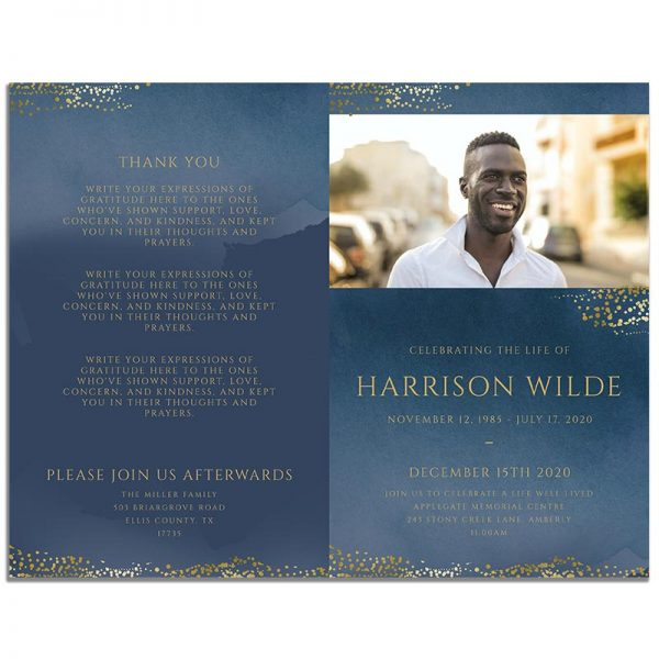Front and Back Sides of 8 Page Funeral Program Template: Navy Gold
