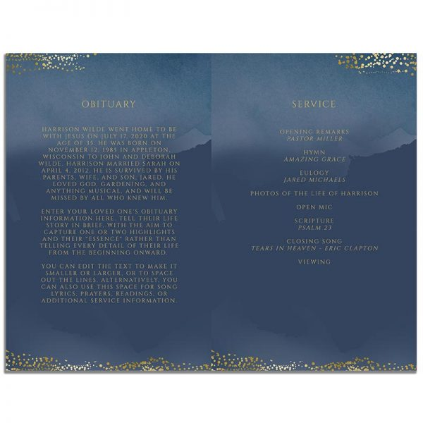 Page One of 8 Page Funeral Program Template: Navy Gold