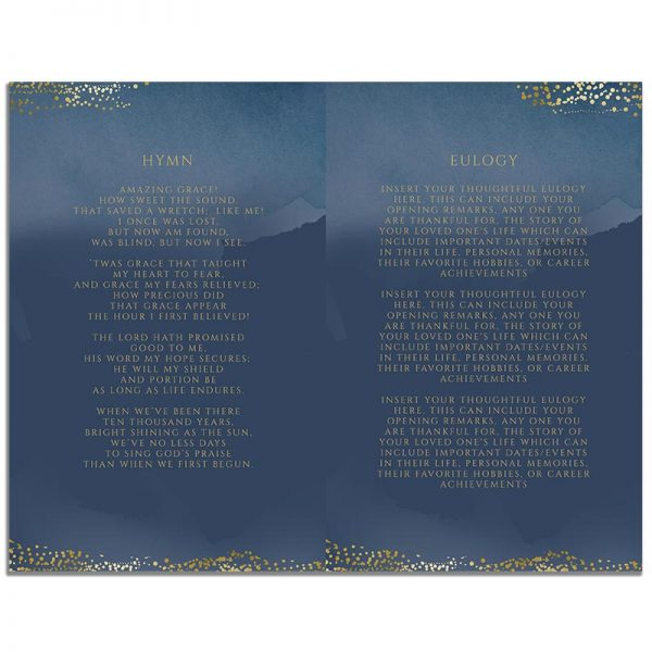 Page Two of 8 Page Funeral Program Template: Navy Gold
