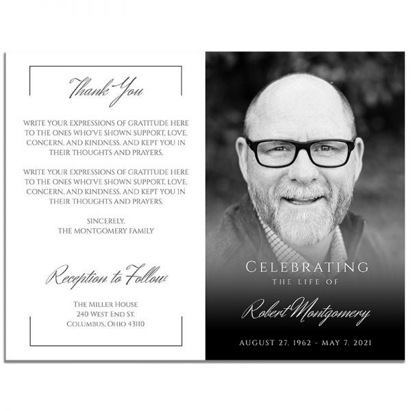 Front and Back Sides of Funeral Program Template: Black and White Portrait Photo