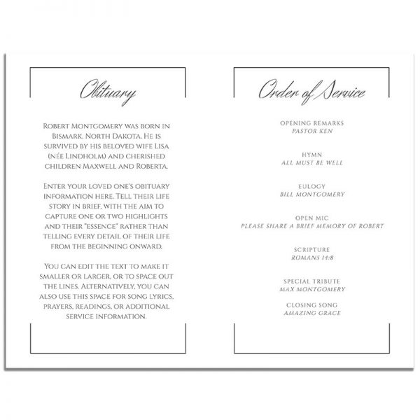 Inside Pages of Funeral Program Template: Portrait Photo