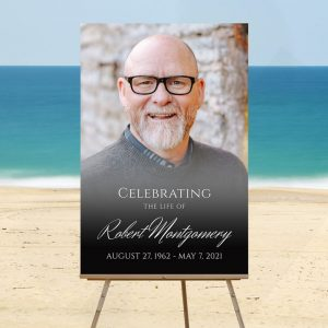 Portrait Photo Designed Funeral Welcome Sign