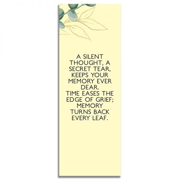 Back Side of Funeral Bookmark Template: Soft Light