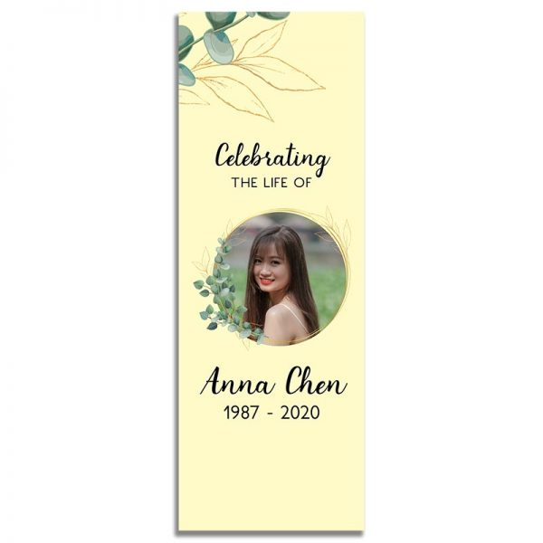 Front Side of Funeral Bookmark Template: Soft Light